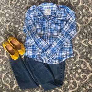 Abercrombie Plaid Button Up Top Blue White